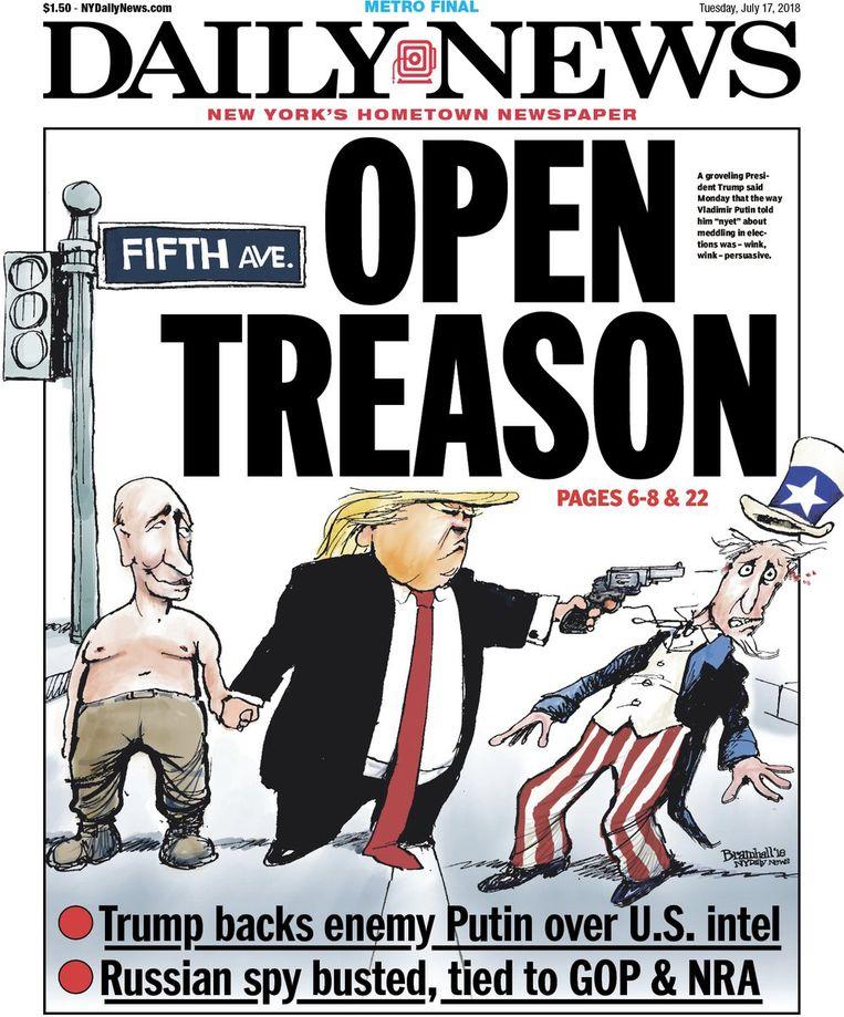 Voorpagina van de New Yorkse Daily News van 17 juli: 'VERRAAD: Trump steunt vijand Poetin inzake inlichtingendiensten VS.' Beeld