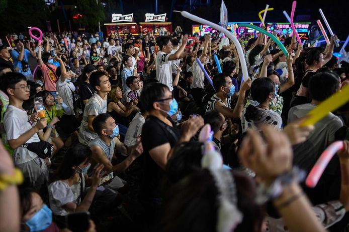 Bezoekers aan het muziekfestival in Wuhan.