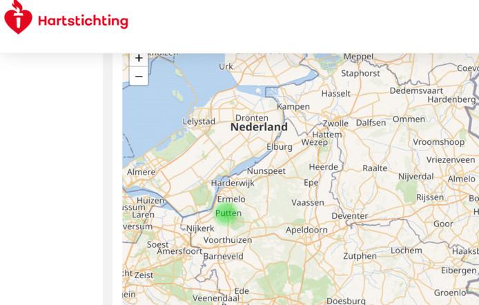 Putten laat bij het invullen van postcodes op de interactieve kaart van de Hartstichting een veilige, groene vlek zien. Verschillende postcodes in Lelystad een rode-.