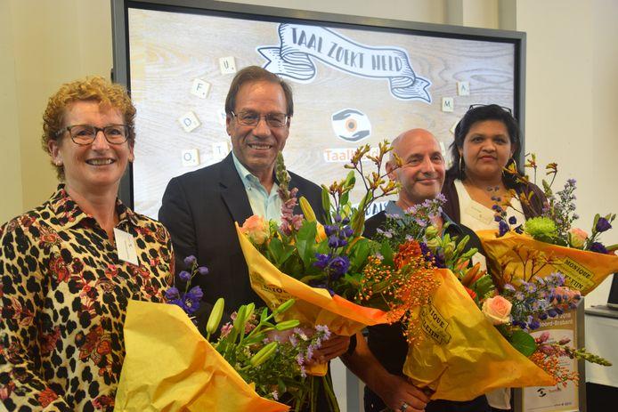Donderdag werden de vier TaalHelden bekendgemaakt in Den Bosch. De winnaars waren Margriet Swinkels, Gerard Suijkerbuijk, Wim Sabel en Shirley Binda.