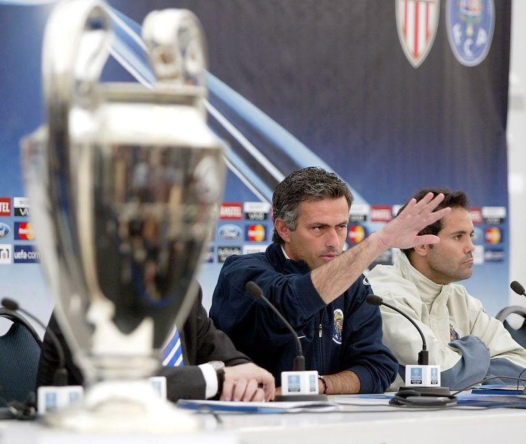 Jose Mourinho op de perscoferentie voorafgaand aan de CL-finale van 2004.
