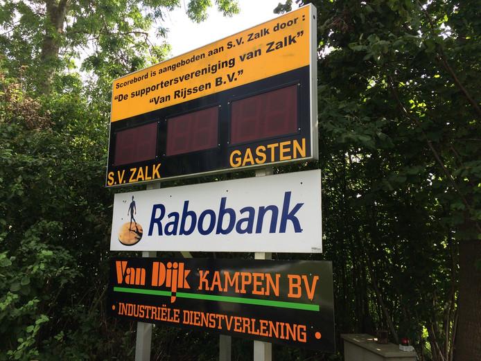 Het scorebord van SV Zalk. Foto: Bert-Jan Lukje