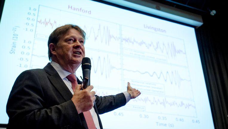 Wetenschapper Jo van den Brand van de VU Amsterdam spreekt bij het evenement van Nifex. Beeld anp
