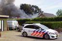 Hulpdiensten ter plaatse bij de brand in Halle.
