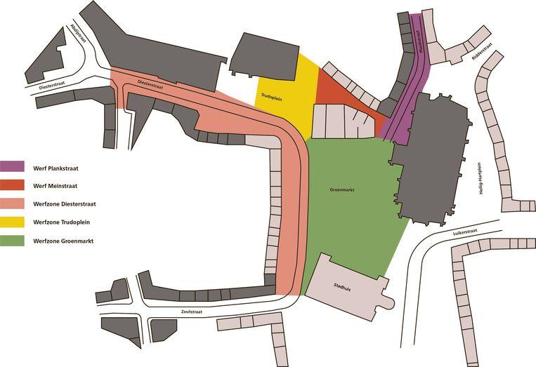 De werfzones in Sint-Truiden.