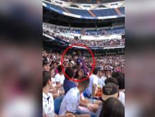Quand un supporter du Barça se glisse dans les tribunes de Bernabeu pendant la présentation d'Eden Hazard