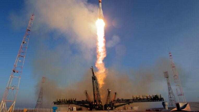 De lancering vanaf Bajkonoer in Kazachstan. Beeld EPA