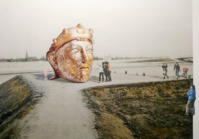 Een Romeinse gezichtshelm als uitkijkpost.
