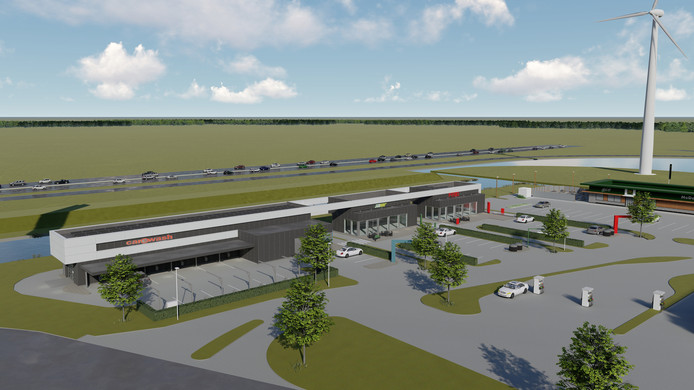 Zo komt de nieuwbouw met FEBO-drive, Subway en autowasstraat langs de A15 eruit te zien.