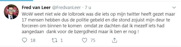 Fred van Leer twitterde na de inval door de politie dat hij er nog is.