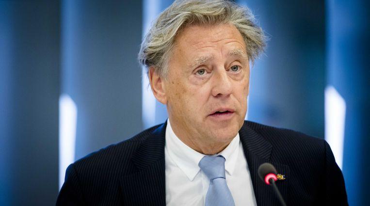 Ed Nijpels, voorzitter van het Klimaatberaad, tijdens een overleg in de Tweede Kamer. Beeld ANP