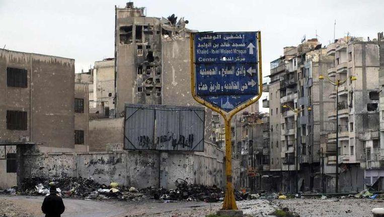 Gebombardeerde huizen in Homs. Beeld reuters