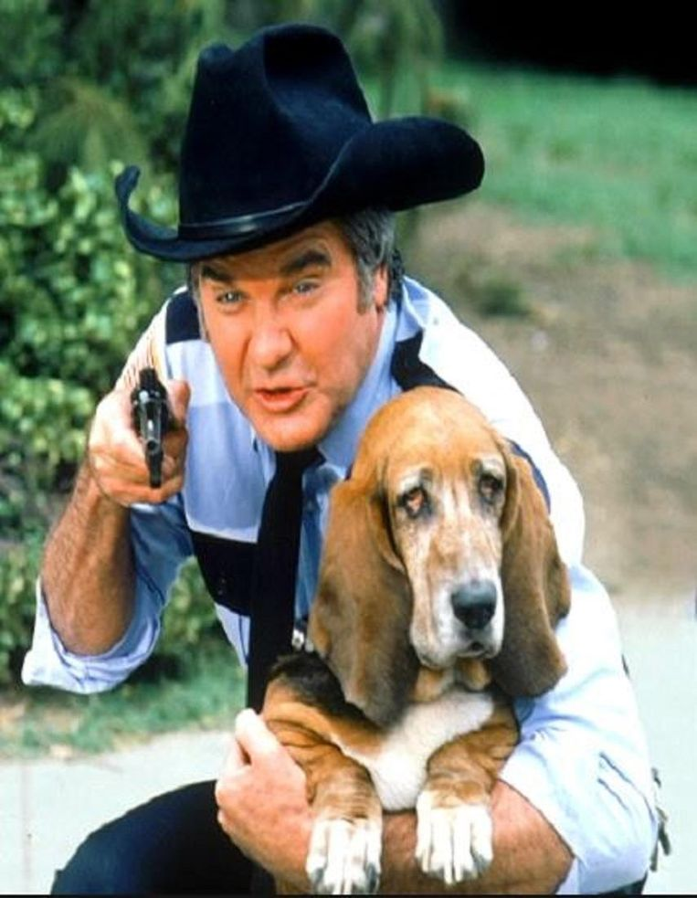 James best als Sheriff Roscoe P. Coltrane in The Dukes of Hazzard. Beeld .