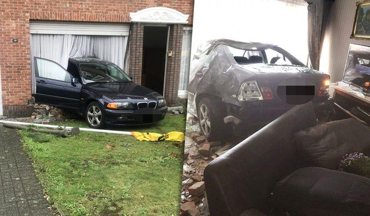 De BMW eindigde achterwaarts in de woning nadat hij een mobilhome aanreed.