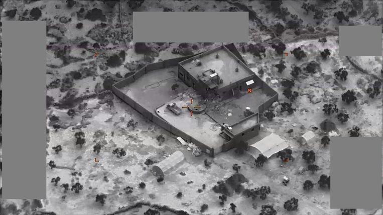 Het gebouw waar Al-Baghdadi zich schuilhield.