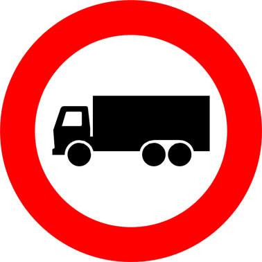 Inrijverbod vrachtauto's (verkeersbord C7).