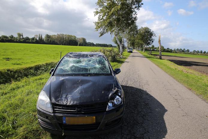 Boom waait op auto in Oosteind