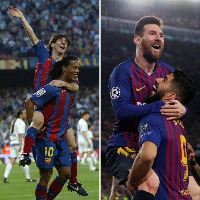 Lionel Messi bij zijn eerste goal (links, 2005) en zijn 600ste goal (rechts, 2019).