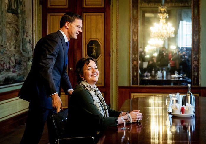 Tamara van Ark (VVD) in de Stadhouderskamer voor een gesprek met formateur Mark Rutte