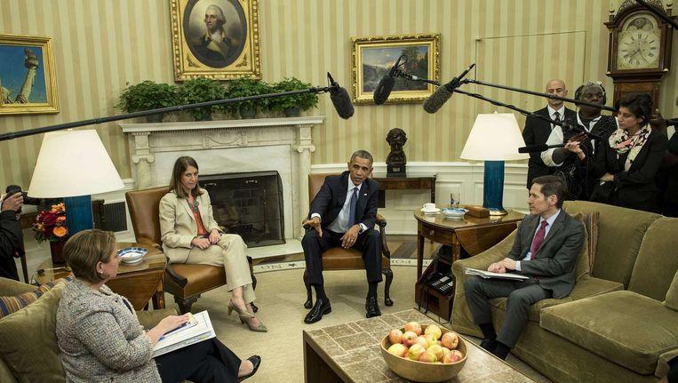 President Obama geeft uitleg aan de pers na een overleg over de internationale aanpak van ebola in het Witte Huis. Beeld anp