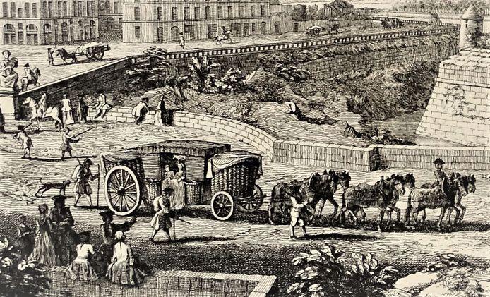 Reiskoets met grote manden, het type waarin Johan Steengracht en zijn medereizigers zich verplaatsten. Detail uit gravure Gezicht op de Bastille van Parijs door J. Rigaud.