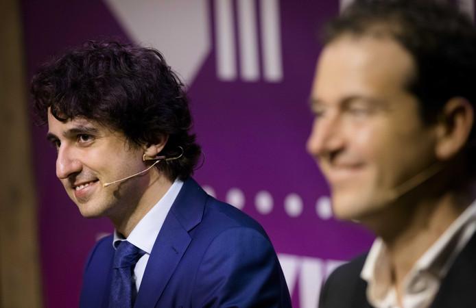 Jesse Klaver (GroenLinks) en Lodewijk Asscher (PvdA) tijdens de verkiezingscampagne.