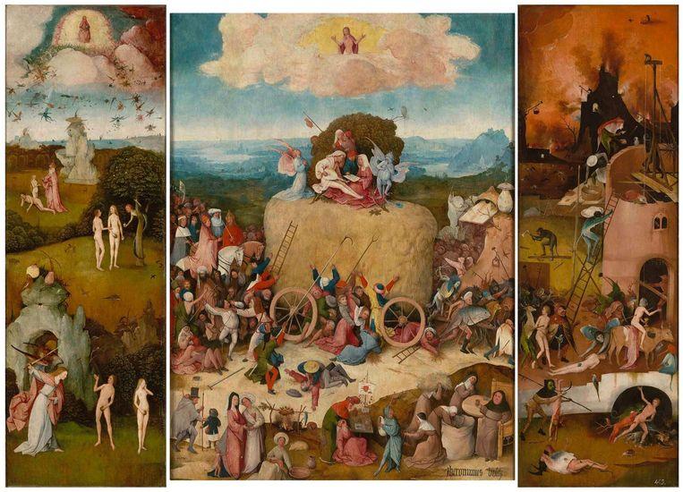 Triptiek van Jeroen Bosch, met tussen Paradijs en hel 'De Hooiwagen', waar mensen iets van willen meepikken. Hooi stond voor materialisme en vraatzucht. Beeld