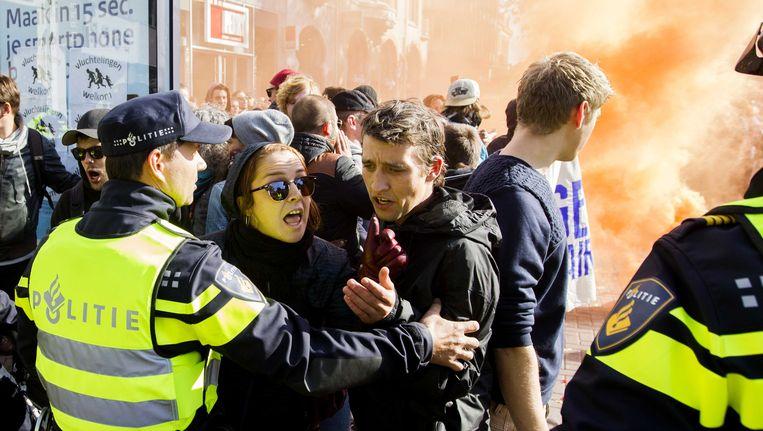 Het protest van Pegida in de Utrechtse binnenstad leidde tot opstootjes. Beeld anp
