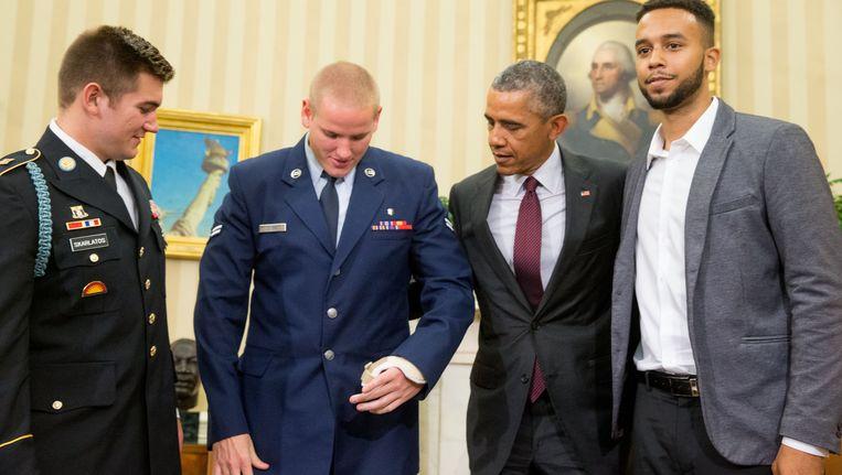 Alek Skarlatos, Spencer Stone, Barack Obama en Anthony Sadler.