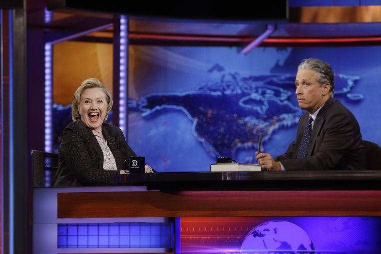 Met voormalig minister van Buitenlandse Zaken Hillary Clinton Beeld null
