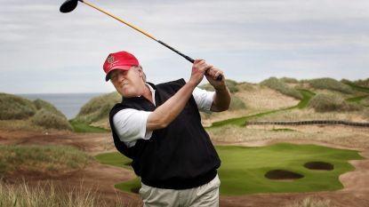 Trump slaat een balletje met Tiger Woods