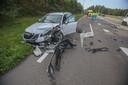 De schade na het ongeluk in Helmond.