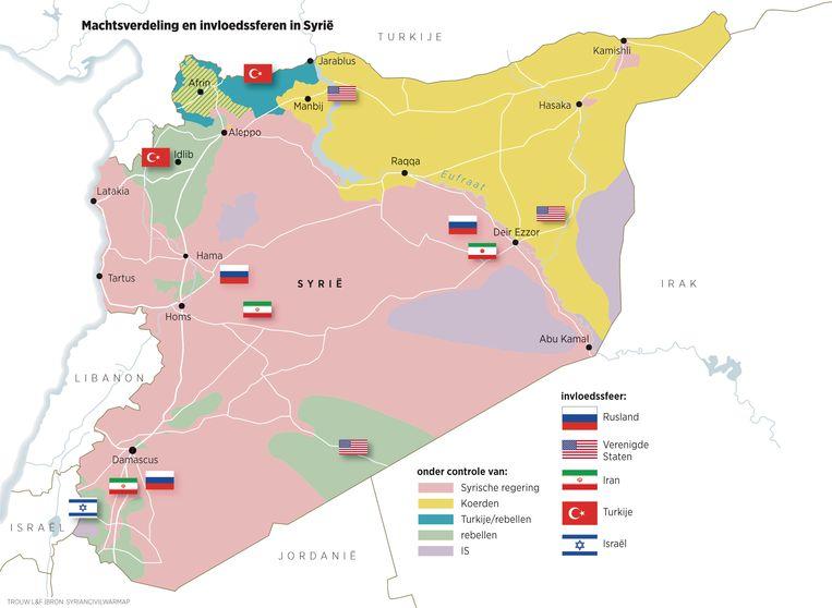Machtsverdeling en invloedssferen in Syrië. Beeld Trouw/Syrian Civil War Map