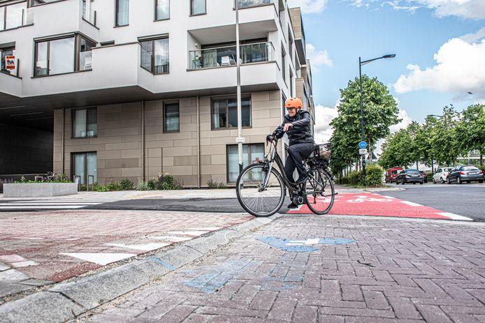 Hij het opdraaien van op de Eindrieskaai naar de Adriaen Brouwerstraat moeten fietsers een drempel overwinnen.
