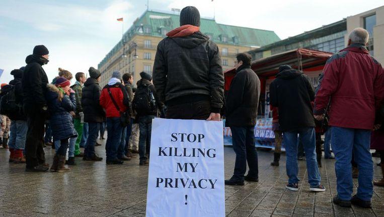 Demonstratie bij de Amerikaanse ambassade in Berlijn, eerder deze maand. Beeld afp