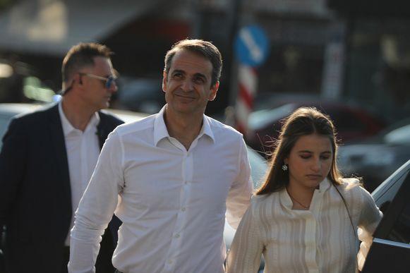 Mitsotakis met zijn dochter Dafni.