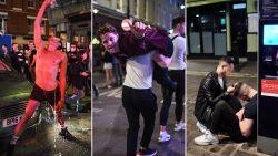 Strompelend, overgevend en laveloos op de grond: cafés in Engeland zijn weer opengegaan en dat ging zo