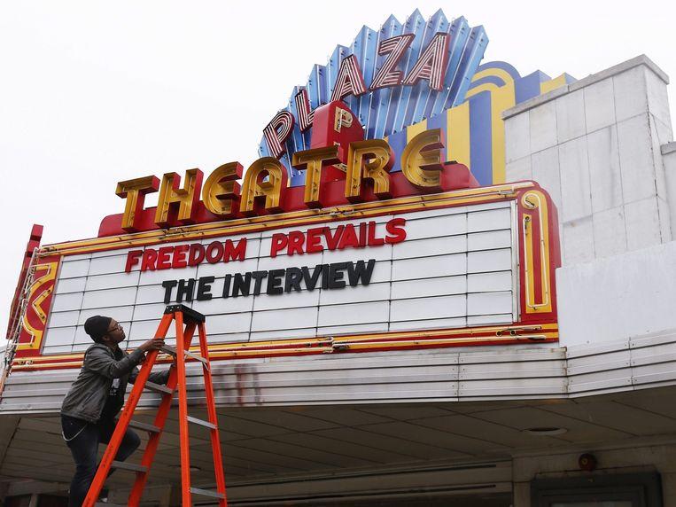 De aankondiging van de film The Interview bij een bioscoop in Atlanta. Beeld epa