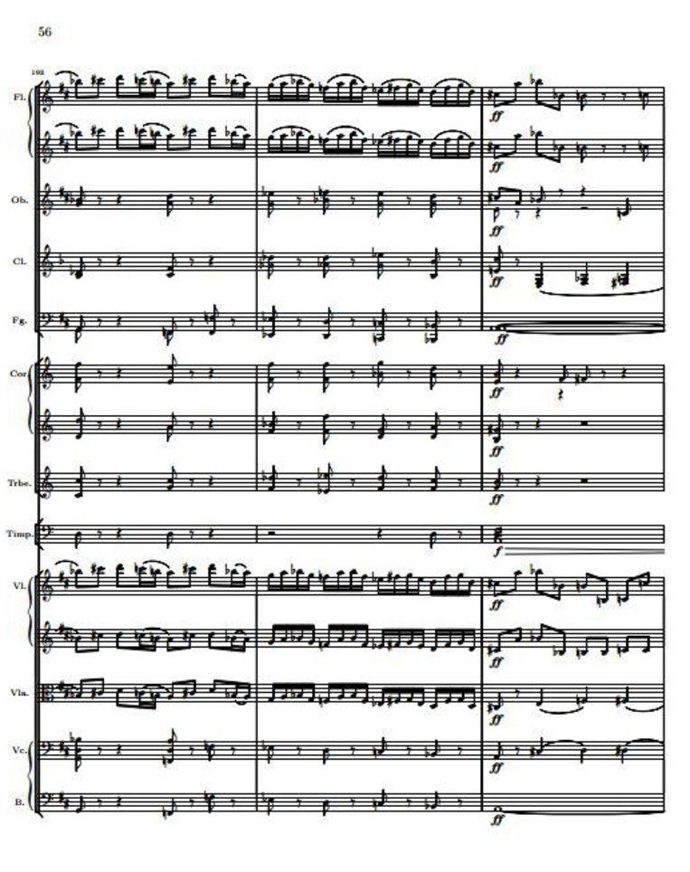 Passage uit Tsjaikovski's Vioolconcert in D-groot: lastig voor de strijkers. Beeld