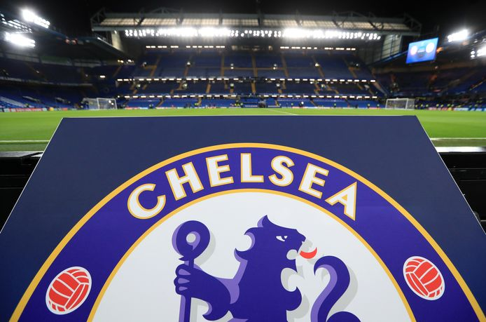 A general view of the Chelsea logo at Stamford Bridge