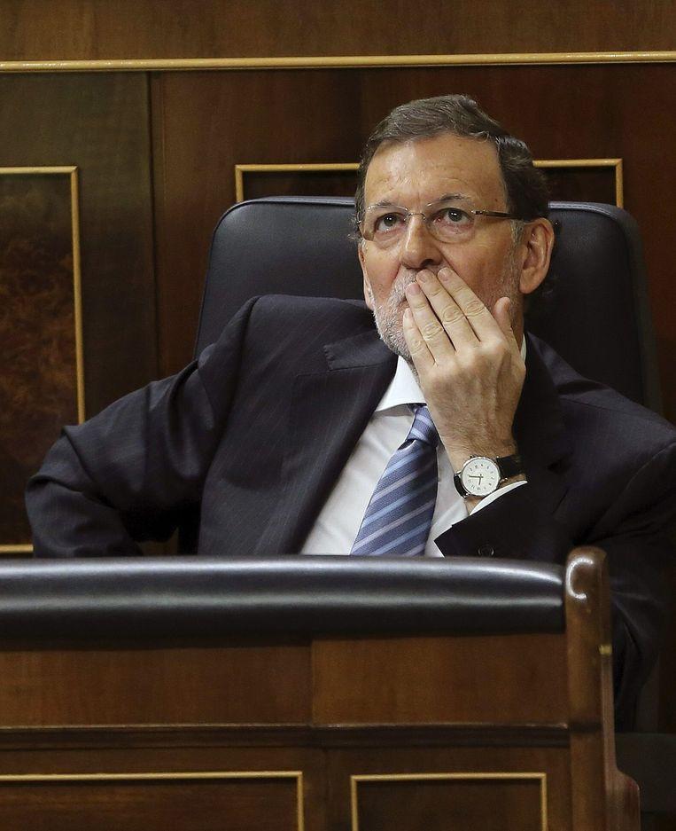 De Spaanse premier Rajoy ging tijdens het corruptiedebat niet in op de eis te vertrekken. Beeld epa
