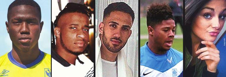 De vijf jongeren die bij de crash om het leven kwamen, vlnr: Mo Nitcheu (19), Helton Fernandes (20) Mustafa Önalan (20), Gerrit Bos (22) en Cassandra Dupont (18).