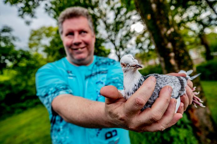 Marco Toering met een van zijn duiven.