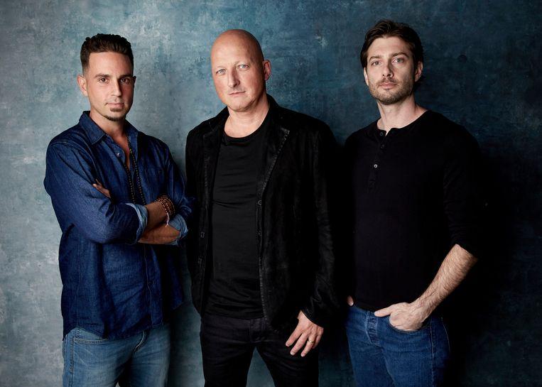 Van links naar rechts: Wade Robson, regisseur Dan Reed en James Safechuck.
