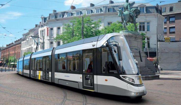 Een simulatiebeeld van de tram over het Mechelseplein.