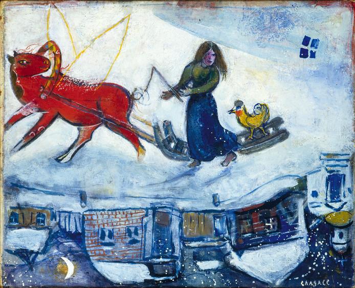 Een wonderlijk winters tafereel van Marc Chagall.