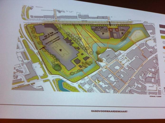 Schets van het nieuwste plan voor Duivendaal. Links Duivendaal, rechts Hof van Wageningen.