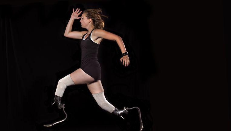 Paralympisch atlete Marlou van Rhijn. Haar startsnelheid haperde vanwege een probleem met haar prothese. Na video-analyse bij de fabrikant zijn haar blades vernieuwd. De voorvoet is stijver gemaakt. Beeld Hollandse Hoogte
