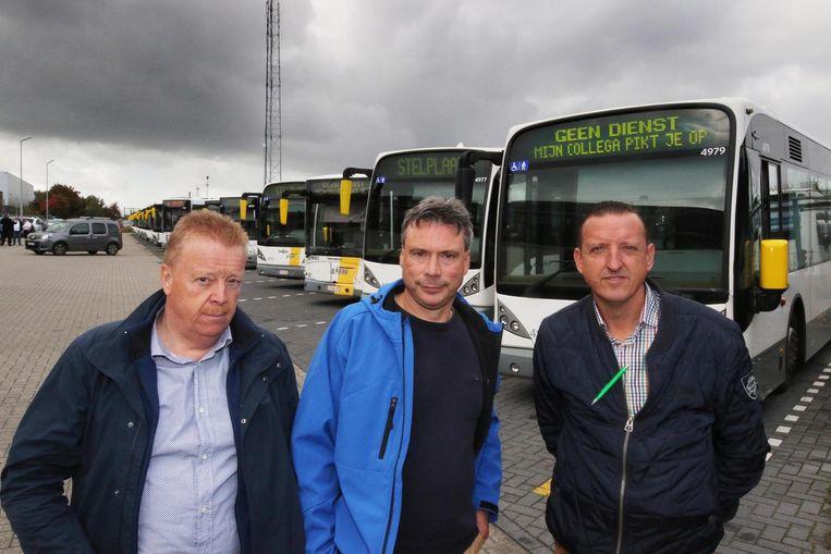 Vakbondsmensen Guido Steelandt (ACOD), Geert De Rous (ACLVB) en Alain Haegheman (ACV).