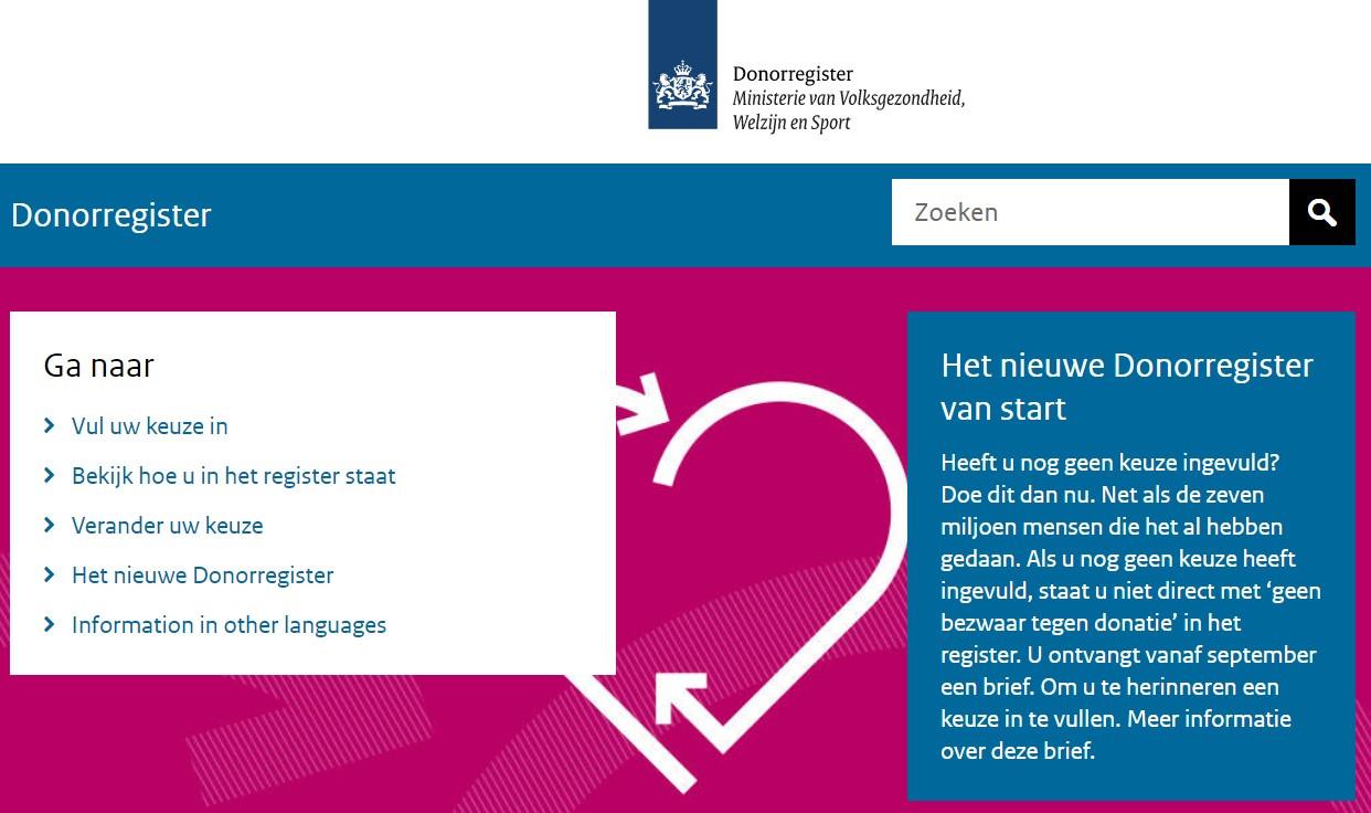 De homepage van donorregister.nl